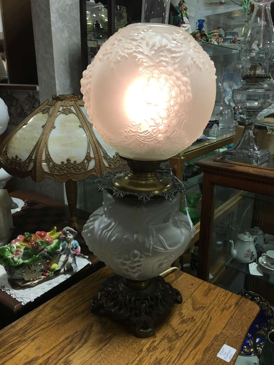 Frosted Glass Gone With Wind Lamp Antique Warehouse