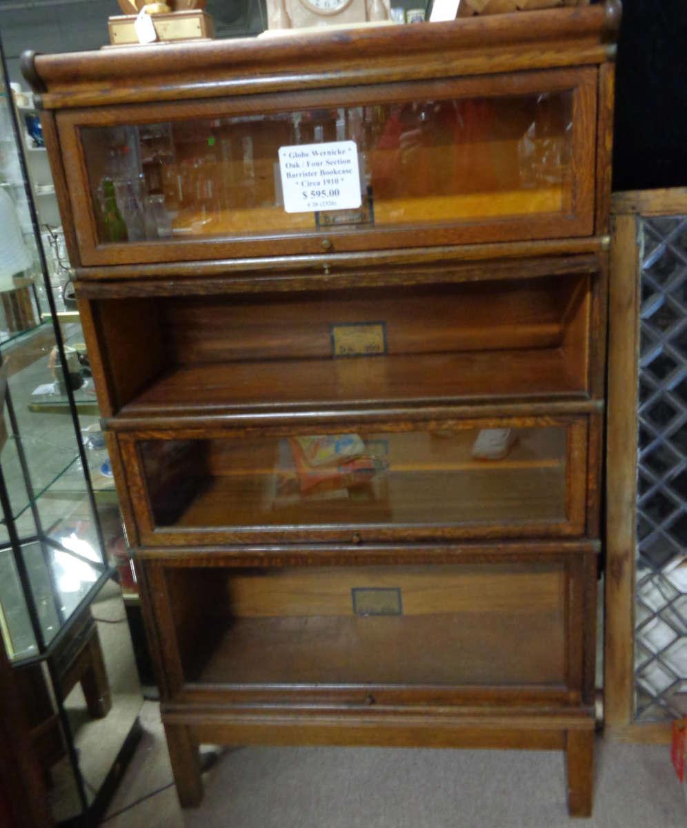 Antique Oak Barrister Bookcase Four Sections Antique Warehouse